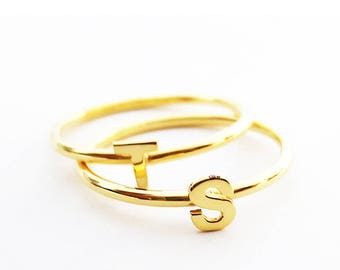Gold Stackable Initial Ring - Personalized Ring - Letter Ring - Custom Initial Ring - Stacking Ring
