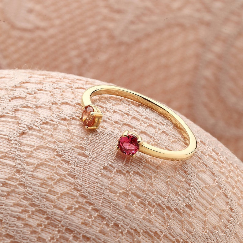 Birthstone Ring  Dual Birthstone Ring  Personalized Ring  image 1