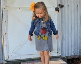 2ca00fca005 Mickey Mouse dress romper leotard- custom Disney-custom disney outfit -  upcycled tshirt- upcycled dress-baby toddler disney outfit