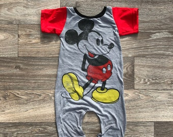 2c4344d026a Mickey Mouse dress romper leotard- custom Disney-custom disney outfit -  upcycled tshirt- upcycled dress-baby toddler disney outfit