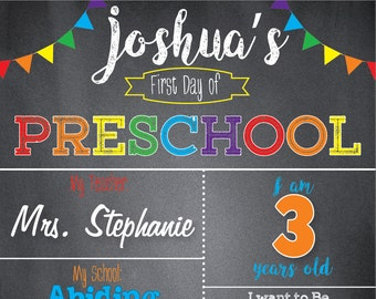 First Day Of School Sign Chalkboard School Signfirst Day Of Etsy