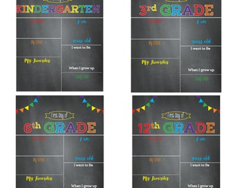 first day of school sign chalkboard school signfirst day of schoolprintable signblank template all grades