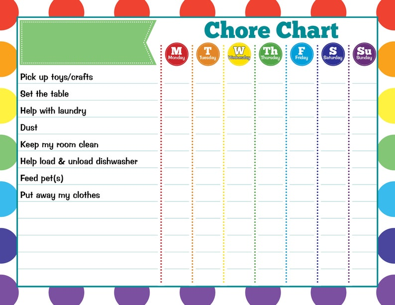 photograph about Weekly Chore Chart Printable identified as Youngster Chore Chart PRINTABLE Immediate Down load Printable Process Chart  Day-to-day Chore Chart Weekly Chore ChartKid Chore Chart Resuable