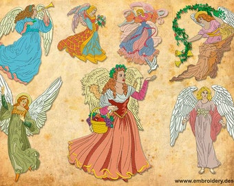 Vintage Angels embroidery designs pack (collection of 7)