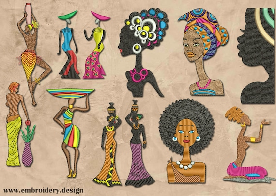 African Women Set Embroidery Designs Pack 2 Collection Of Etsy