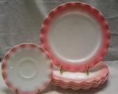 Vintage, 1950 39 s Pink Crinoline Pattern 8 7 8 in Plate, or Ripple Pattern, Mid Century Modern, Made by Hazel Atlas, Pink White Ruffle