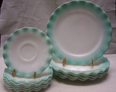 Vintage, 1950s Turquoise Crinoline Pattern 8 7 8 in Plate, or Ripple Pattern Mid Century Mod, Made by Hazel Atlas Turquoise White Ruffle