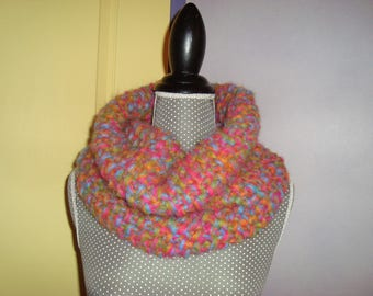 Snood Echarpe-tube Tour de cou en grosse laine multicolore Rose Bleu Orange  Vert 2855640dde4