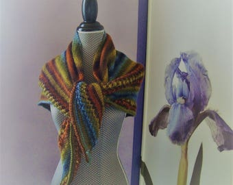 Multicolor wool shawl openwork stitch fancy fall color stripe effect
