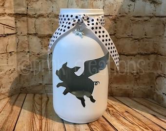 Flying Pig Painted Mason Jar Tea Light Candle Holder, painted mason jar, mason jar, tea light candle holder, lantern, pig, flying pig, cute