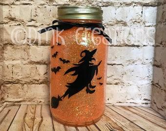 Witch Lighted Glitter Mason Jar, witch, bats, mason jar, lighted mason jar, Halloween, night light, glitter mason jar, Halloween decoration