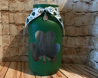 Shamrock Painted Mason Jar Tea Light Candle Holder, shamrock, painted mason jar, tea light candle holder, St, Patrick's day, Irish, gift