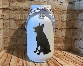 German Shepherd Painted Mason Jar Tea Light Candle Holder, German shepherd, mason jar, tea light candle holder, shepherd, GSD, dog