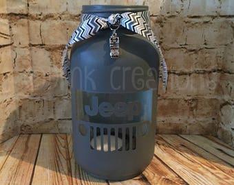 Jeep Grill Painted Mason Jar Tea Light Candle Holder, Jeep, Painted Mason Jar, Tea Light Candle Holder, Jeep candle holder, mason jar
