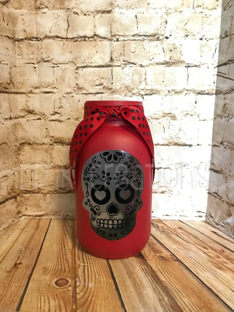 De Los Muertos Skull  Painted Mason Jar Tea Light Candle image 0