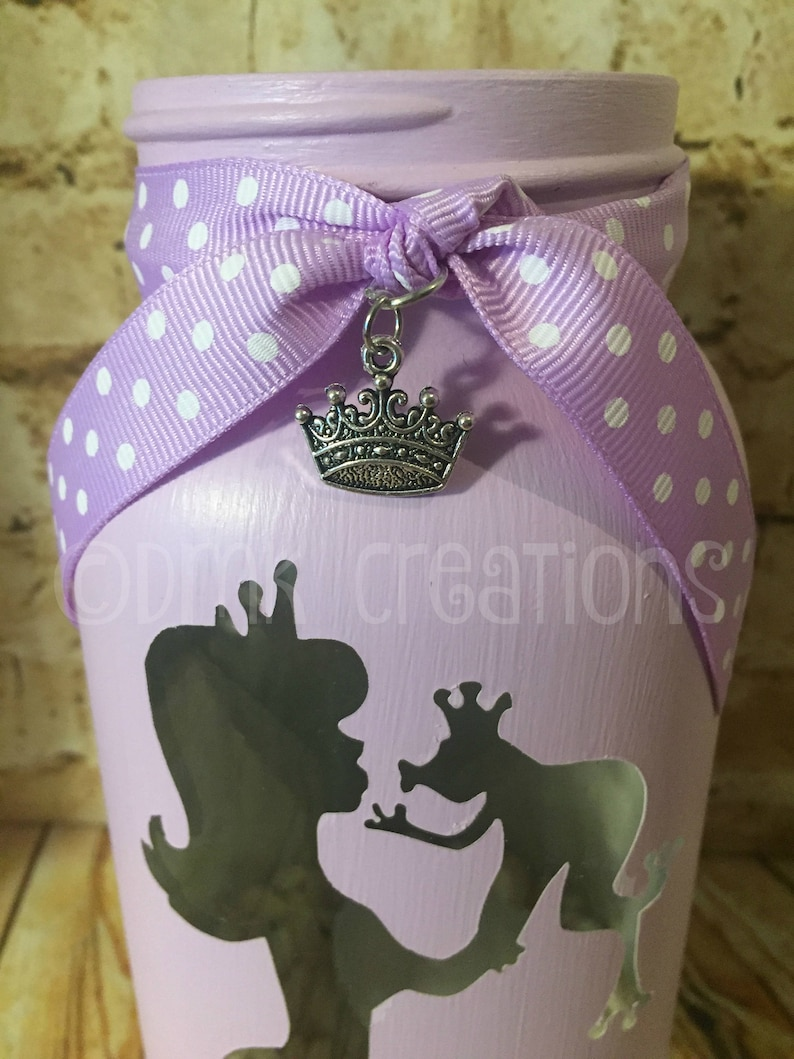 painted mason jar Mason Jar Tea Light Candle Holder crown frog princess Princess and Frog Painted Mason Jar Tea Light Candle Holder