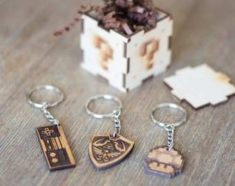Christmas Geek Gift, Gift for Men, Men's Personalized Gamer Gift as Boyfriend Gift. Retro 8 Bit Keychain with Hand Made Wood Box.