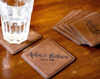 Personalized Leather Coaster as Wedding Party Favor wedding Keepsake. Personalized Coasters for Wedding Party Table Setting.