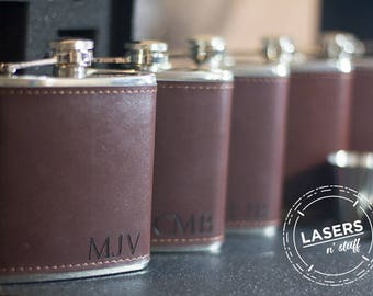 Flask, Personalized Flask, Leather Flask, Wood Wrap Groomsmen Flask, Gift Set Wedding Party Gift Monogrammed Hip Flask Groomsman Gift Set
