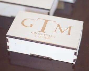 """Hand Crafted Personalized Gift Box. Laser cut with laser engraved personalized lid. Custom wood gift box wooden set. 11""""x3.0""""x1.5"""""""