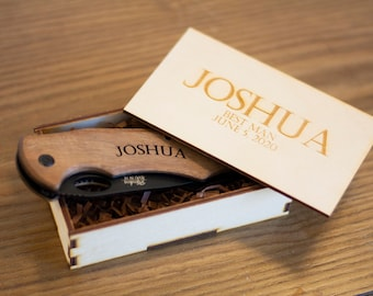 Personalized Laser Engraved Knife in hand made wood box, Groomsmen Gift, Groomsman Gift, High Quality Fraternity Gift, New Pledge Party Gift