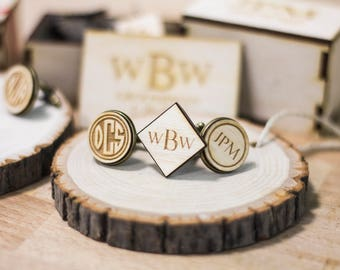 Set of 7 Personalized cufflinks groomsmen gift, wedding party gift, groomsman gift. Cufflinks for groomsmen personalized wedding party gift