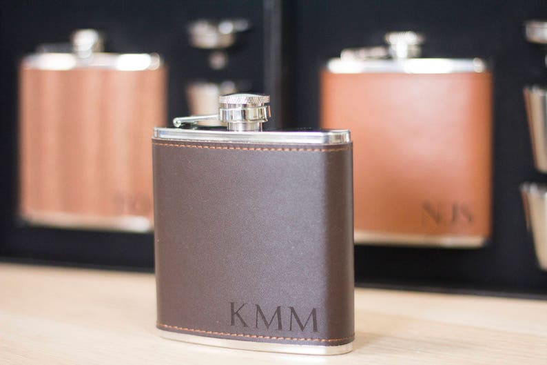 Genuine Leather Wrapped Personalized Groomsmen Flask