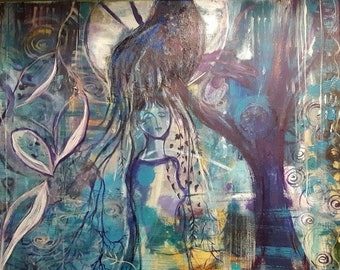 Woodland creatures; Original Art on Canvas; Nature; Woman and Full Moon