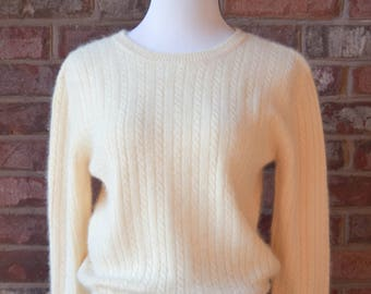 80s FUZZY SWEATER Lambswool Angora Pullover Jumper