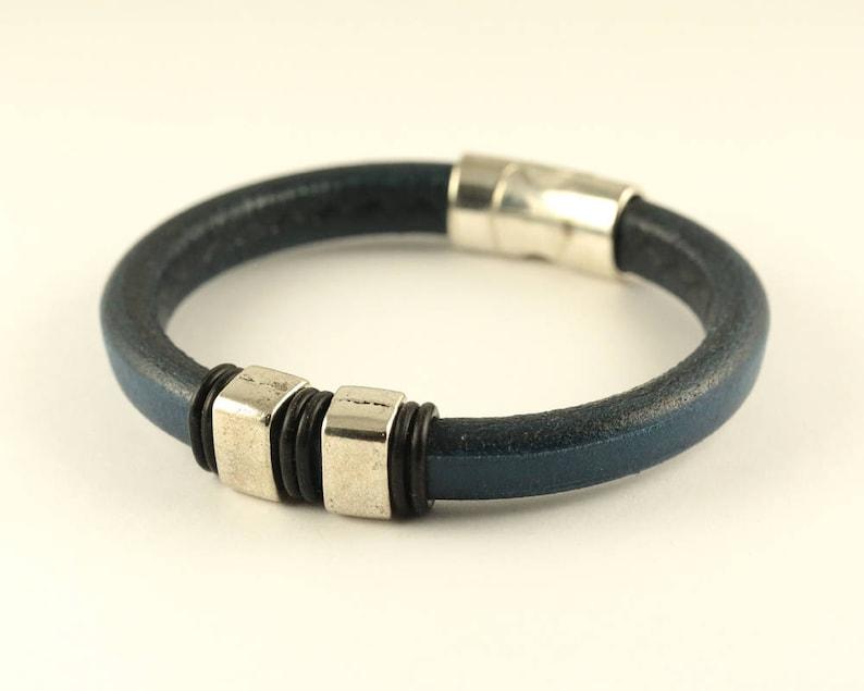 Magnetic Bracelet Cuff Bracelet Bohemian Bracelet Navy Leather Bracelet Regaliz Leather Mens Leather Mens Gift Men Leather Bracelet