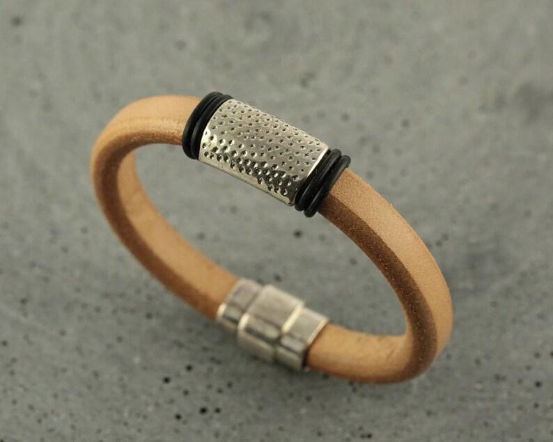Men's Regaliz Leather Bracelet/Men's Natural Leather image 0