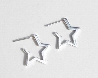 NEW !! Sterling silver star earrings