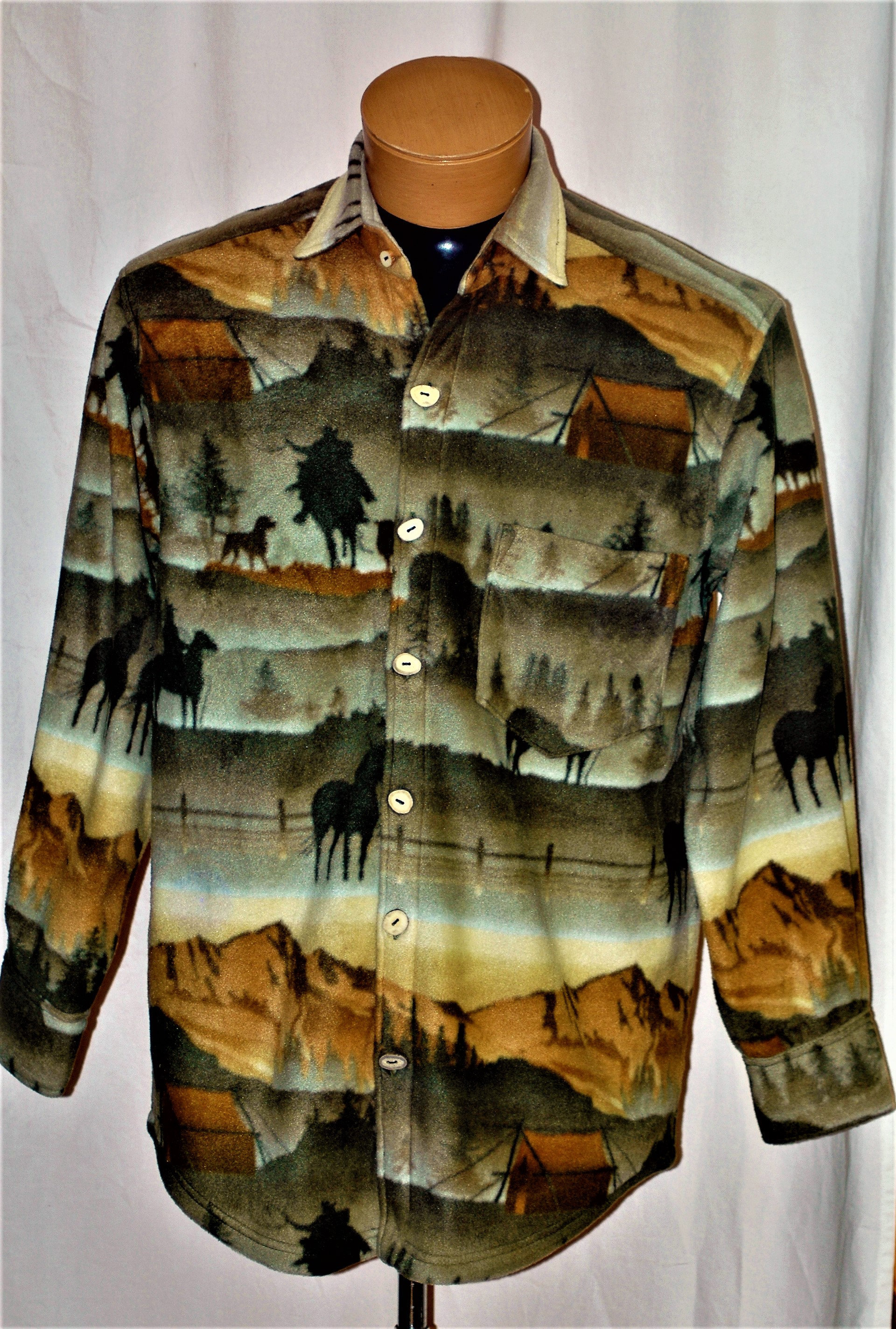 f43d711825 Mens anti-pill velour fleece shirt with a scene of camping on the open range  front chest pocket