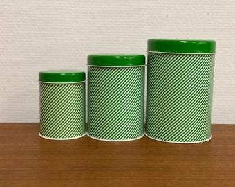 Set of 3 vintage green/white striped tins - in style of Regency Ware England - Kitchen