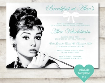 Breakfast at Tiffany's Bridal Shower Invitation, Bridal Shower, Audrey Hepburn, Tiffany & Co, Bow, Bridal Shower Invite, Black and White
