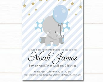 Meet greet baby boy etsy elephant baby arrival blue balloon new baby invitation meet and greet sip and see invite blue and grey stripes boy invitation stars m4hsunfo