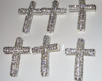 Rhinestone Clear Silver Plated Crosses 27mm