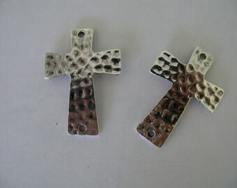 Copper Base Silver Plated Cross Charm