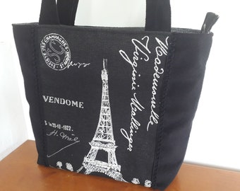 Handbag Paris black and gray woman, chic tote pattern Eiffel Tower, bag carried shoulder suede and Jacquard