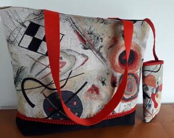 Red and black Kandinsky style handbag, large chic women's tote bag, designer bag with phone case
