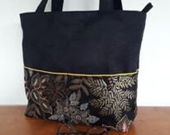 """Black and gold """"winter chic"""" handbag, chic women's shoulder tote, suede bag and French fabric, gift for her"""