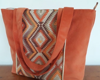 handbag suede orange and ethnic fabric, chic tote woman with zip