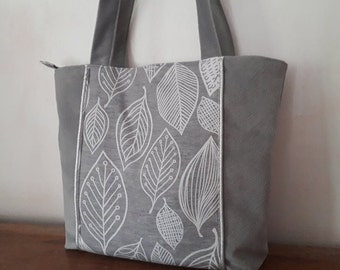 Grey handbag with phone case, chic suede tote bag and leaf pattern fabric, grey designer women's bag