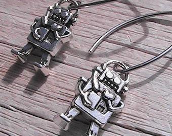 Robot charm earrings. robot charms. charm jewelry. charm earrings
