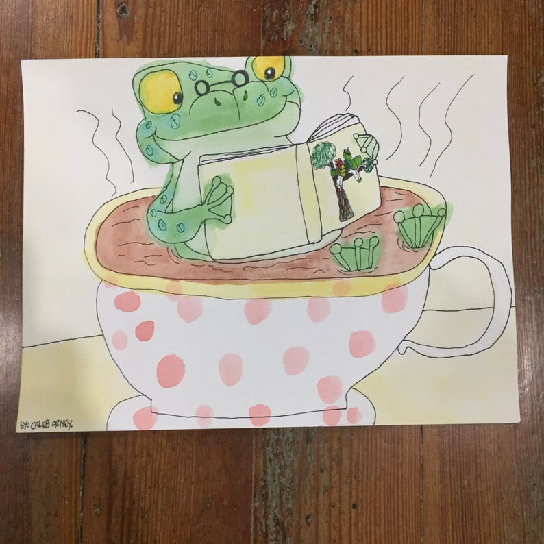 Caleb Arney Frog Bath Watercolor folk art Painting West Union Art Studios outsider art