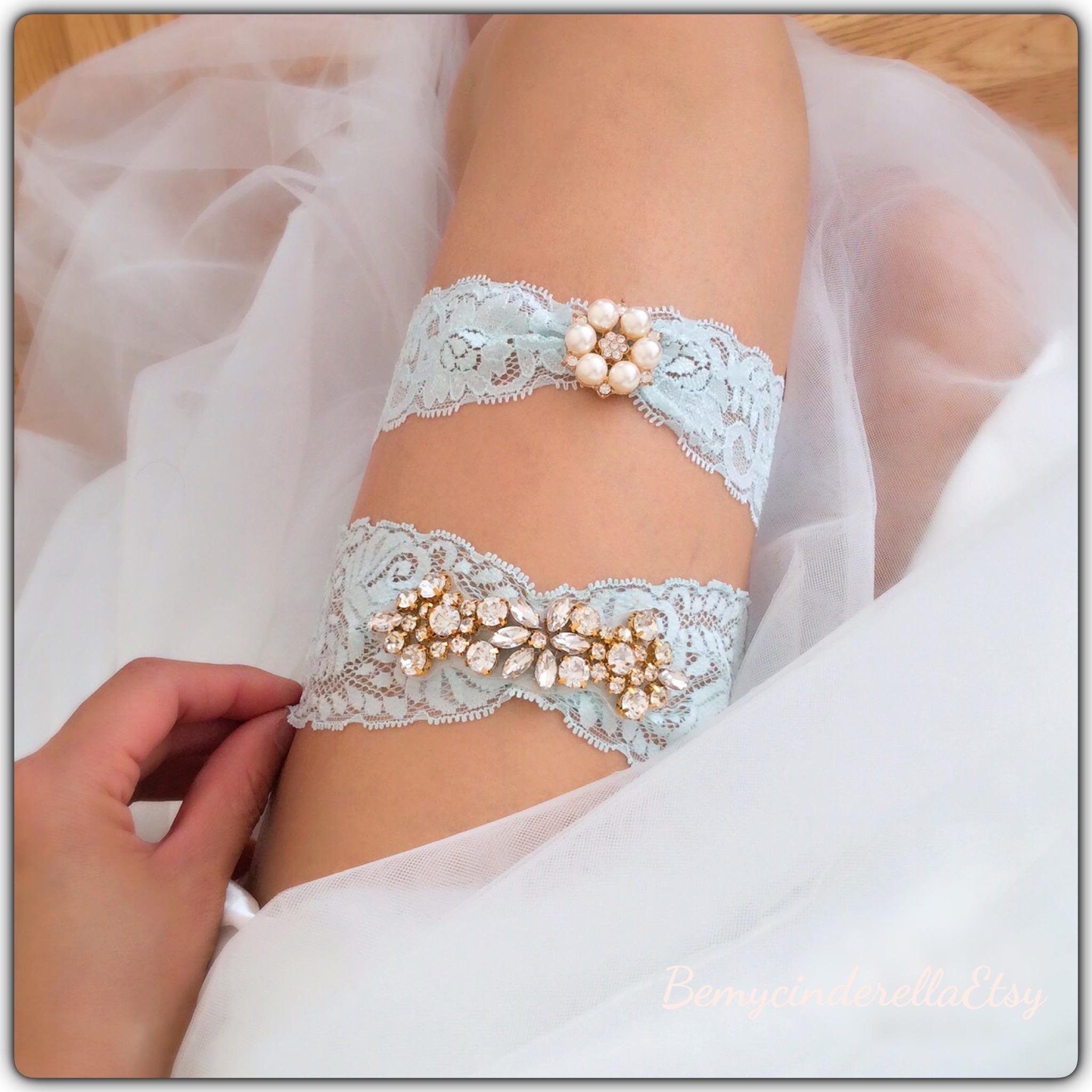 Something Blue Wedding Garter Set Rhinestone Bridal Garter