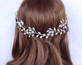 Bridal hair wreath, Bridal Hair Vine, Wedding Hair Vine, opal rhinestone vine Wedding Hair wreath, crystal hair vine, bridal hair accessory,