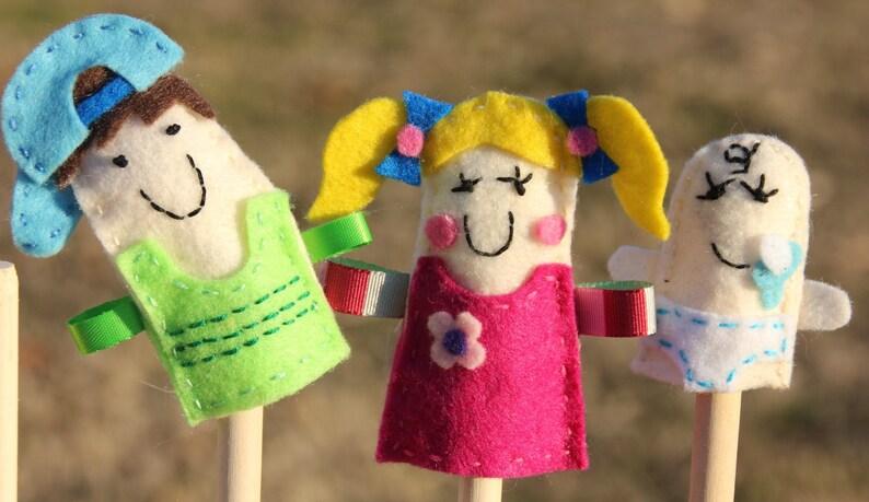 Hand embroidered felt family finger puppets