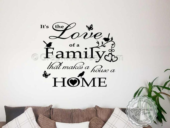 Love Makes a House a Home Saying Vinyl Wall Art Sticker Decal Family Living Room
