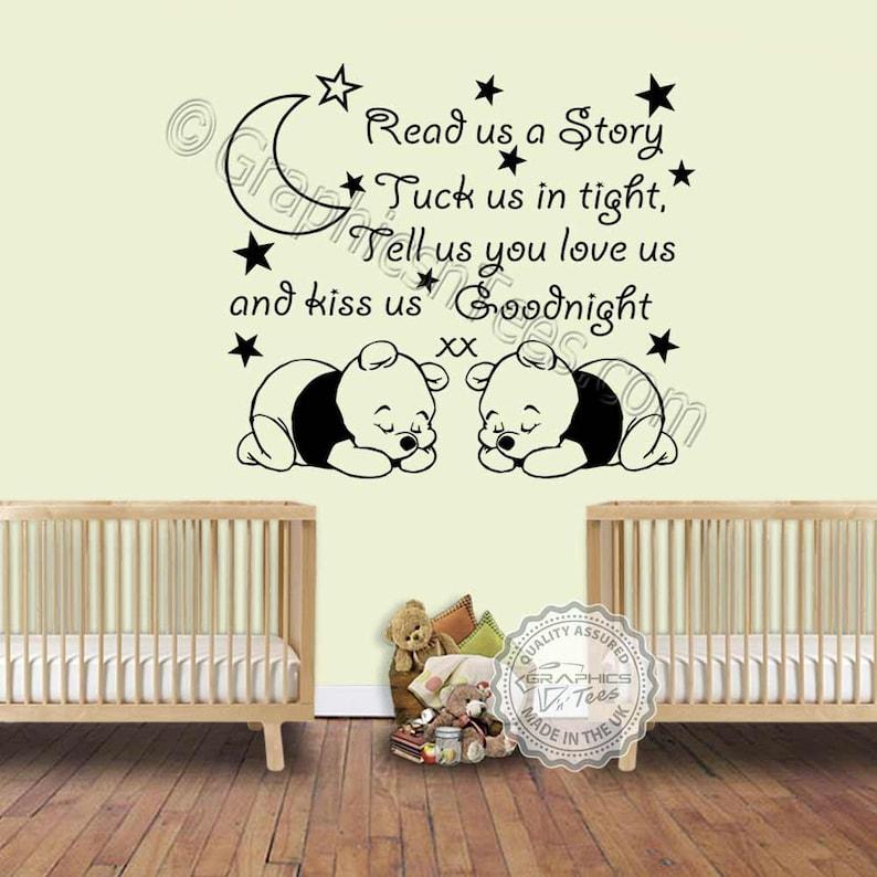 nursery wall sticker for twins read us a story baby boys girls | etsy